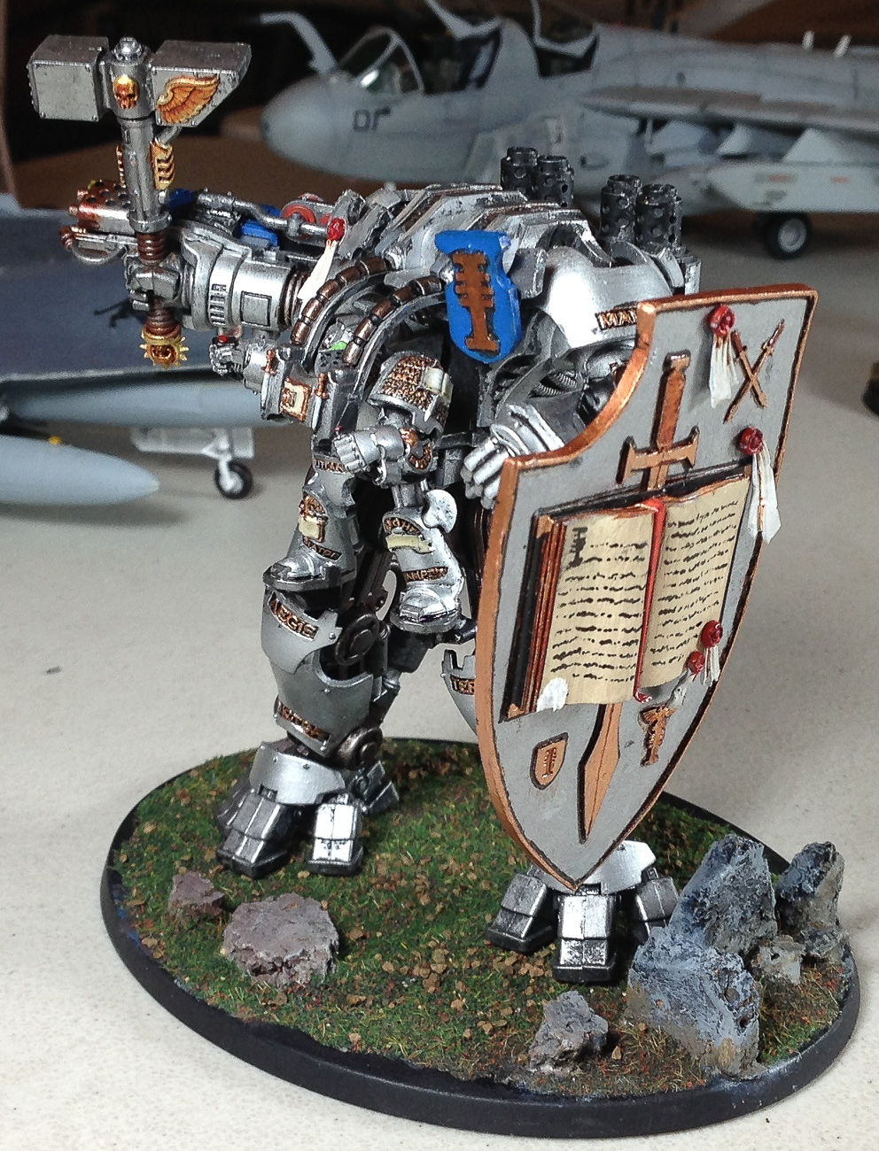 Ed Rose showed off his painting skills with this armored fighting figure from the Warhammer universe.
