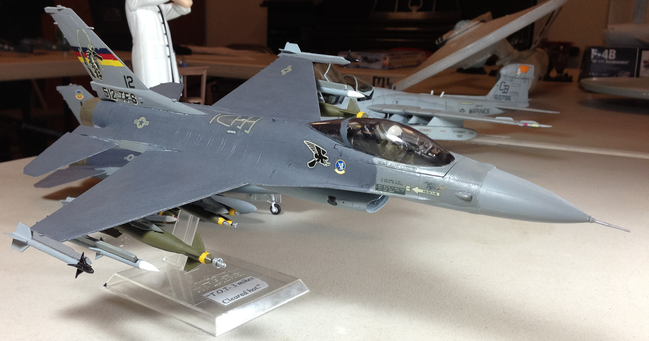Brian Nerino's F-16 rides proud on its plastic display base.