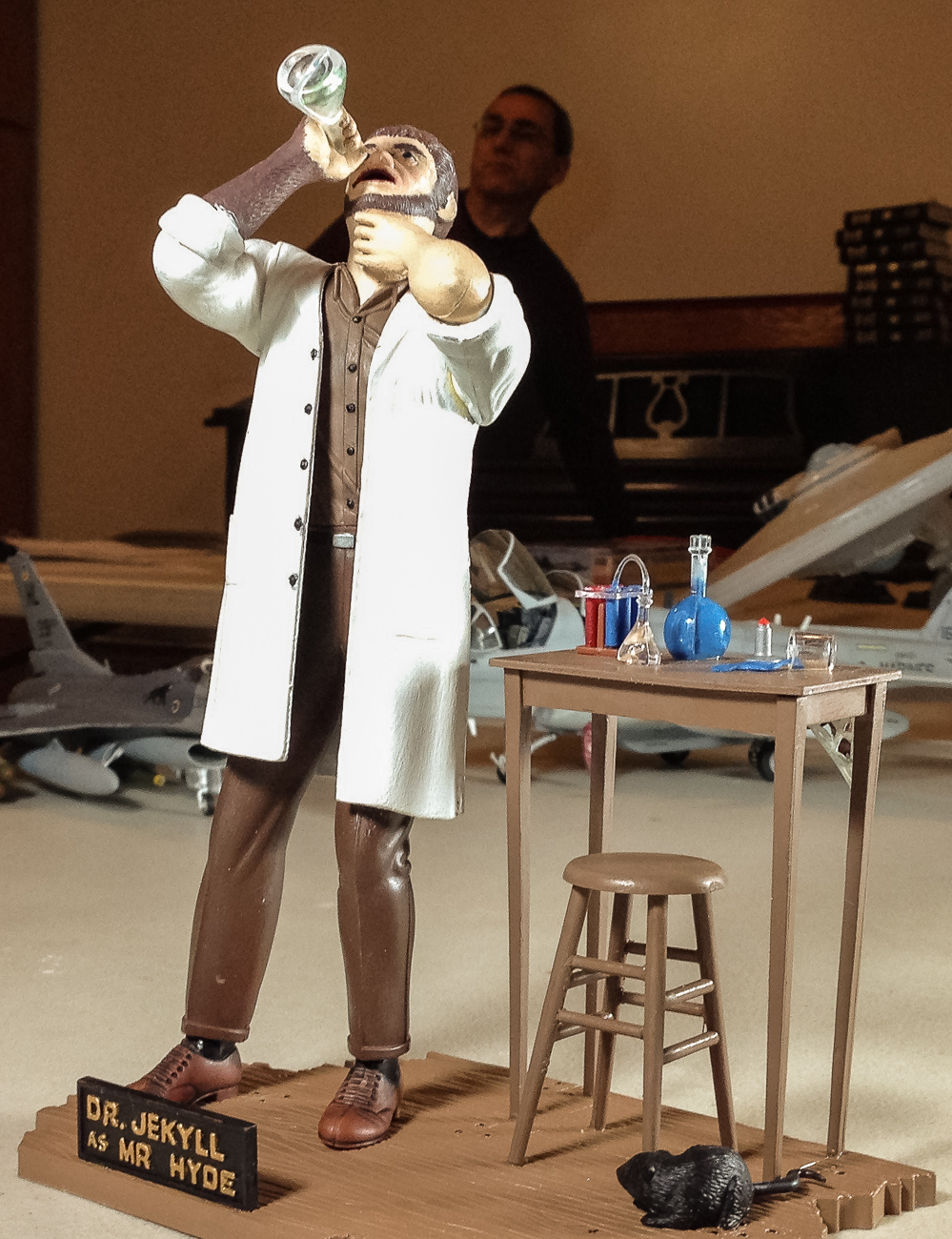 A Moebius re-pop of Aurora's Dr. Jekyll as Mr. Hyde figure assembled and painted by Brian Nerino.