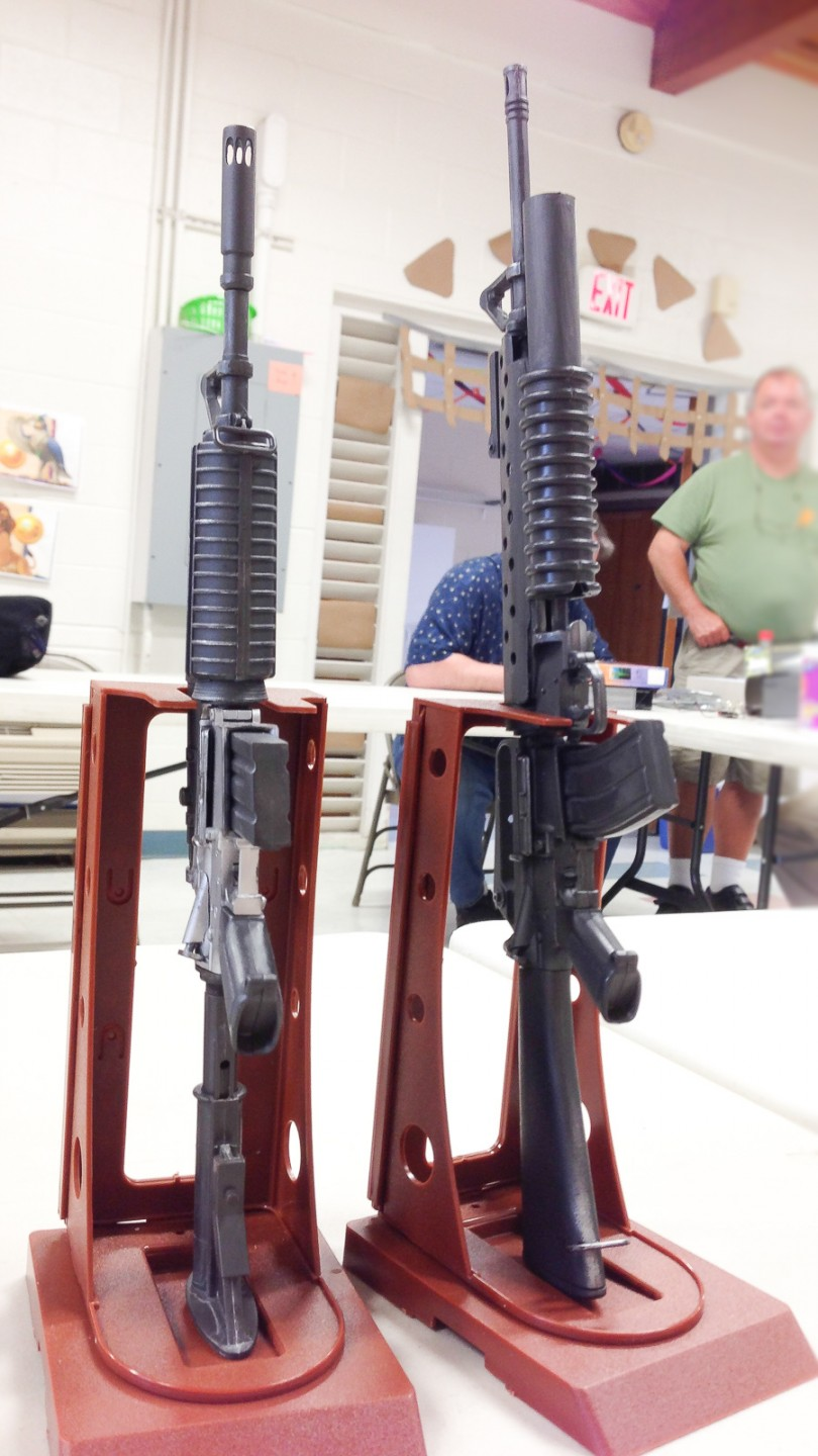 Wiley Williams brought a selection of modern weapons in 1:6 scale to the July show-and-tell.